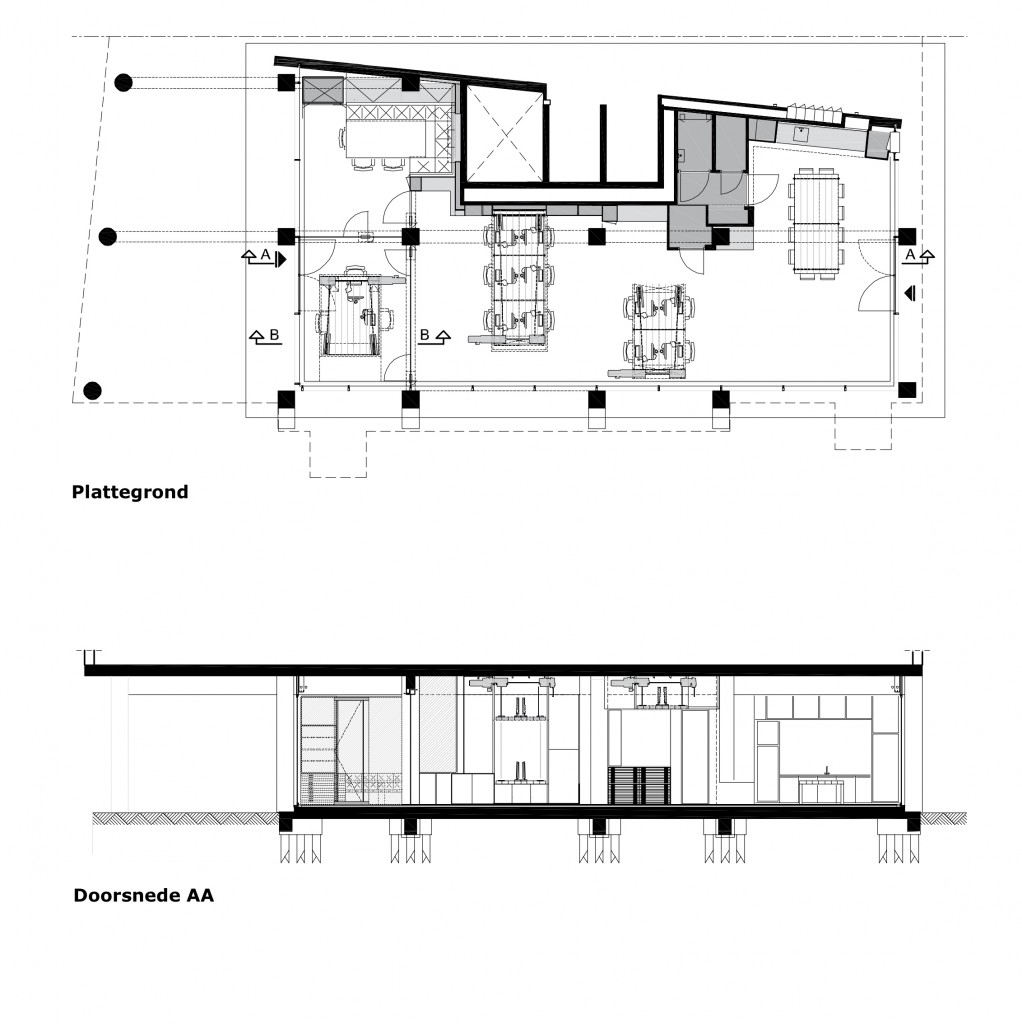 Plant and Cross Section of Studio Heldergroen