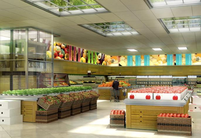 Rooftop farm insideflows for Mini market interior design ideas
