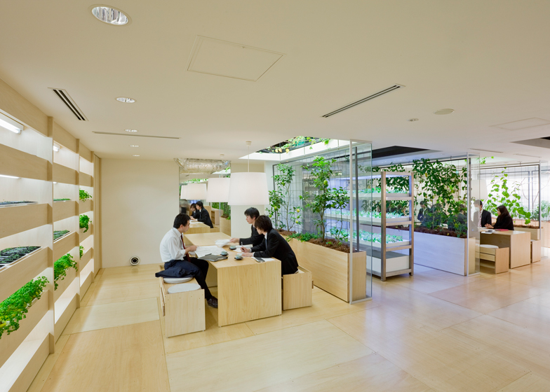 Pasona urban farming insideflows for Japanese office interior design
